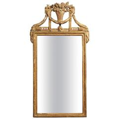 French Louis XVI Narrow Giltwood Mirror with Urn, circa 1790