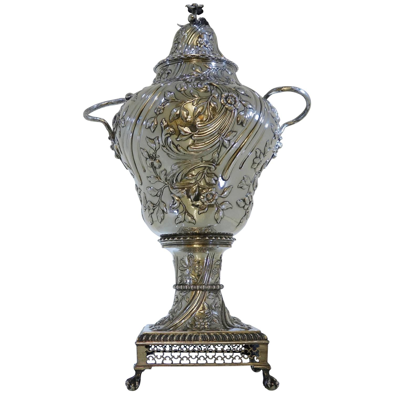 George Iii Silver Tea Urn London 1763 By Charles Wright