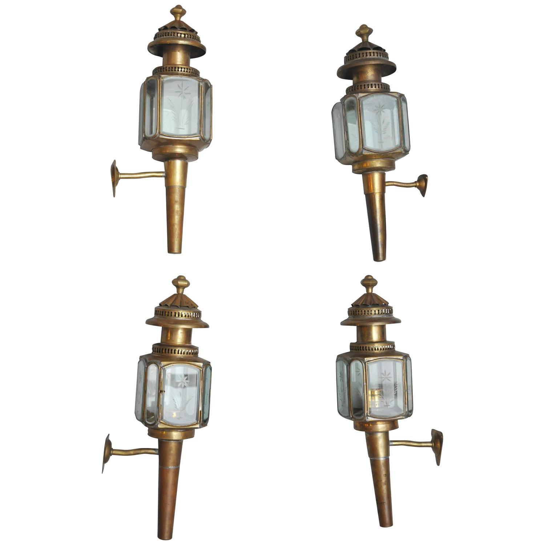 Coach Lantern Wall Lights : English Brass Carriage Coach Lanterns at 1stdibs