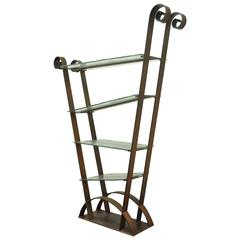 Mid-Century Modern Sculptural Artisan Crafted Iron & Glass Ètagerè or Bookshelf