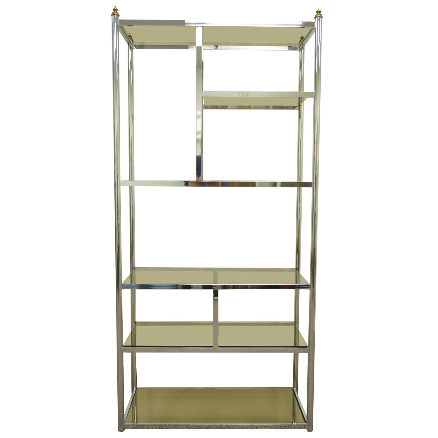 Hollywood regency directoire style chrome brass and - Etagere 6 cases ...