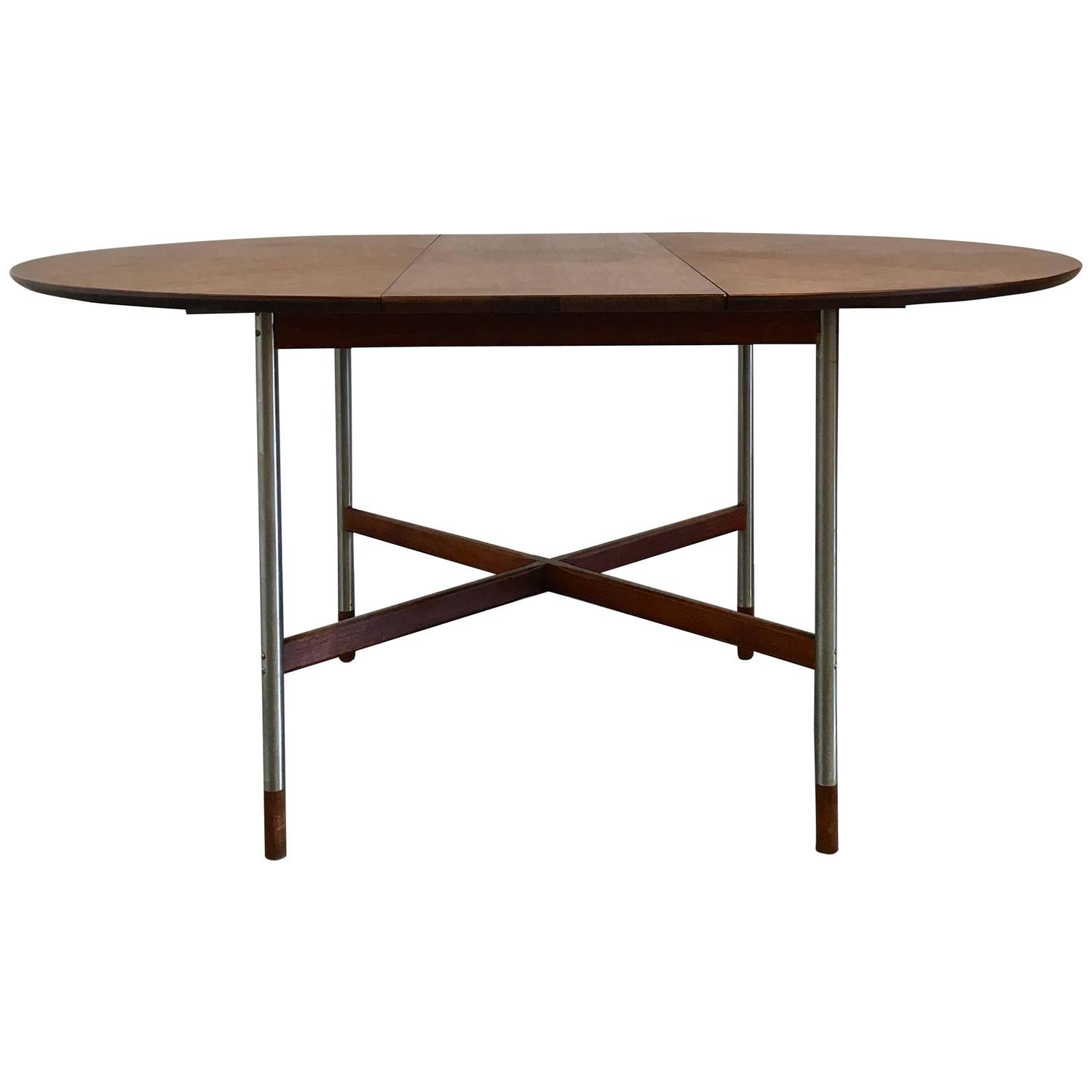 Arne Vodder Walnut Dining Table With Brushed Steel Legs For Sibast For Sale A