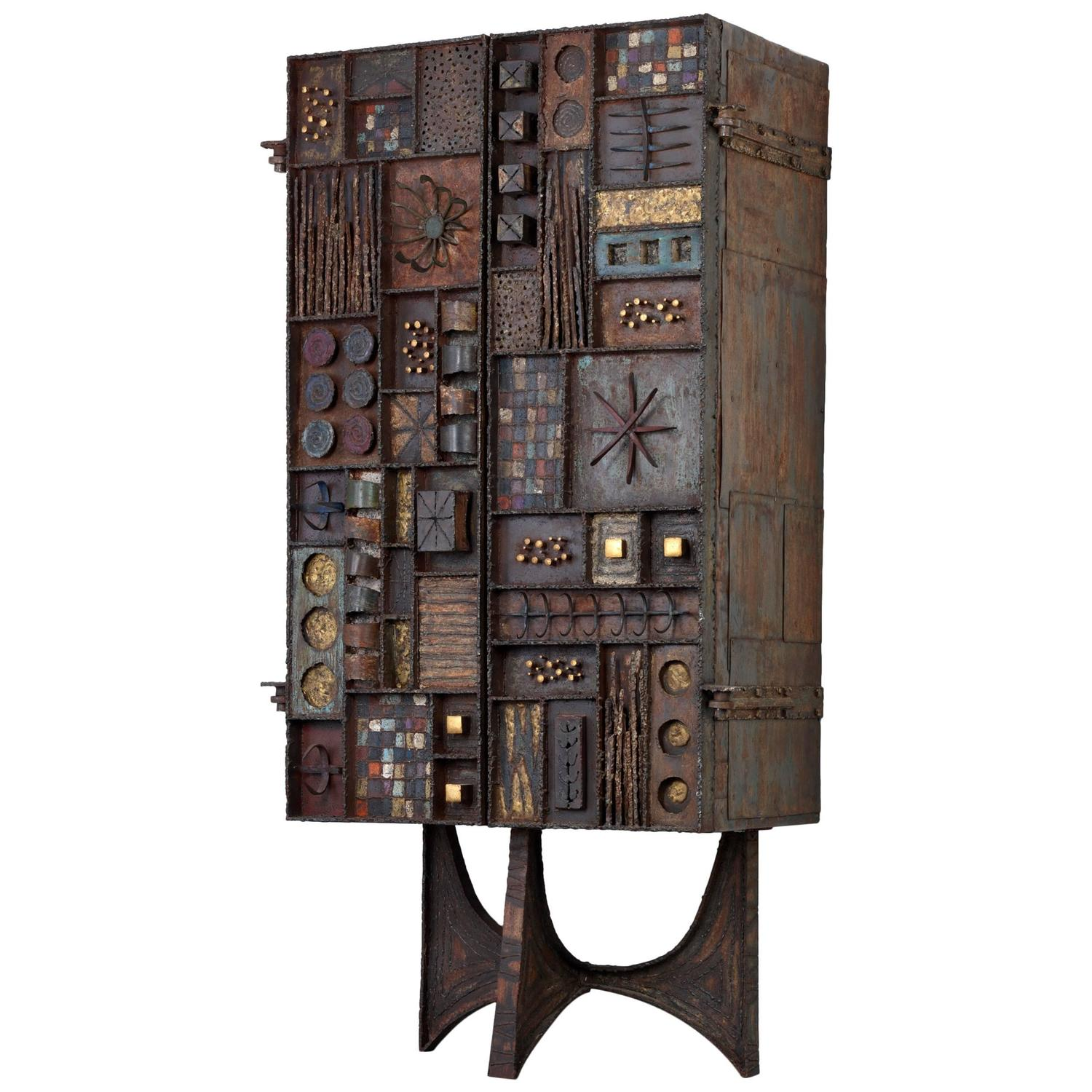 """Rare Paul Evans Studio 80"""" Upright Forge Front Cabinet"""