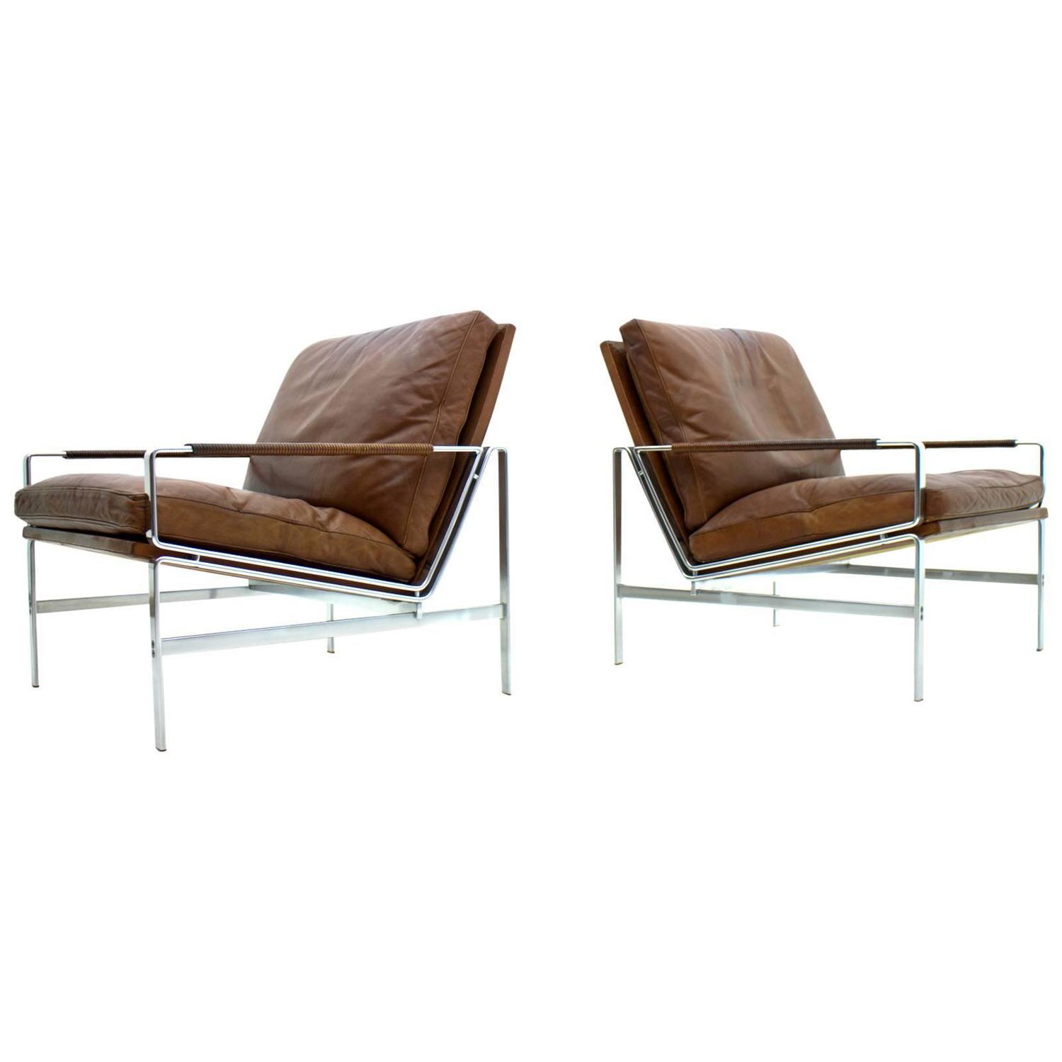 50a6377f78f9 Pair of Leather and Steel Lounge Chairs by Fabricius and Kastholm FK 6720  at 1stdibs