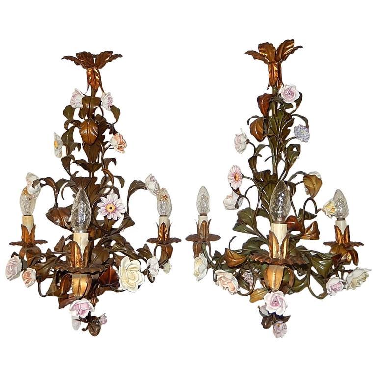 Pair of Italian 1870 Tole Polychrome Porcelain Flowers Chandeliers