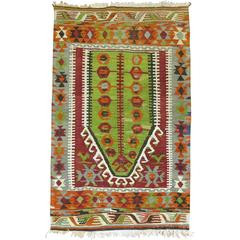 Vintage Turkish Kilim Throw Piece
