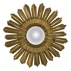 Spanish Gilt Carved Wood Sunburst Mirror