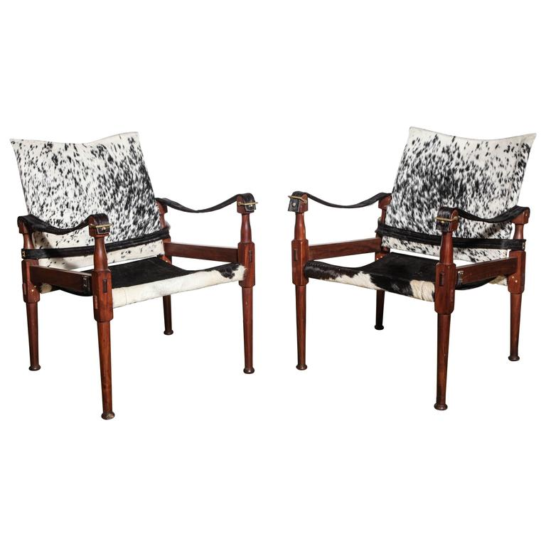 Pair of M. Hayat Bros. Rosewood Safari Chairs with Black and White Horse Hide