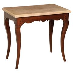 18th Century French Oak Side Table with Shaped Apron and Original Marble Top