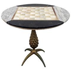 Arturo Pani Marble and Bronze Pineaplple Chess Board