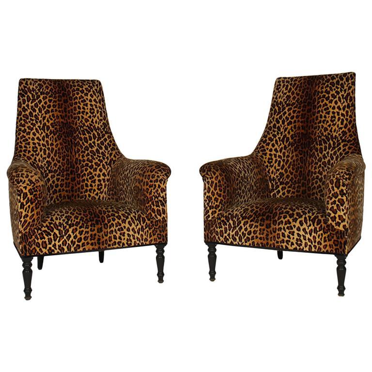 Pair of Napoleon III Leopard Print Club Chairs at 1stdibs