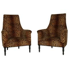 Pair of Napoleon III Leopard Print Club Chairs