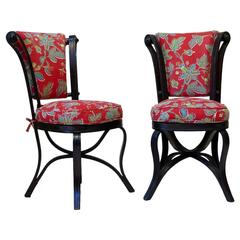 Rare Pair of 19th Century Ebonized Bentwood Chairs