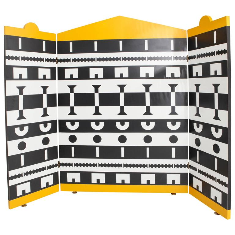 Three-Panel Screen by Alessandro Mendini for the Ollo Collection For Sale