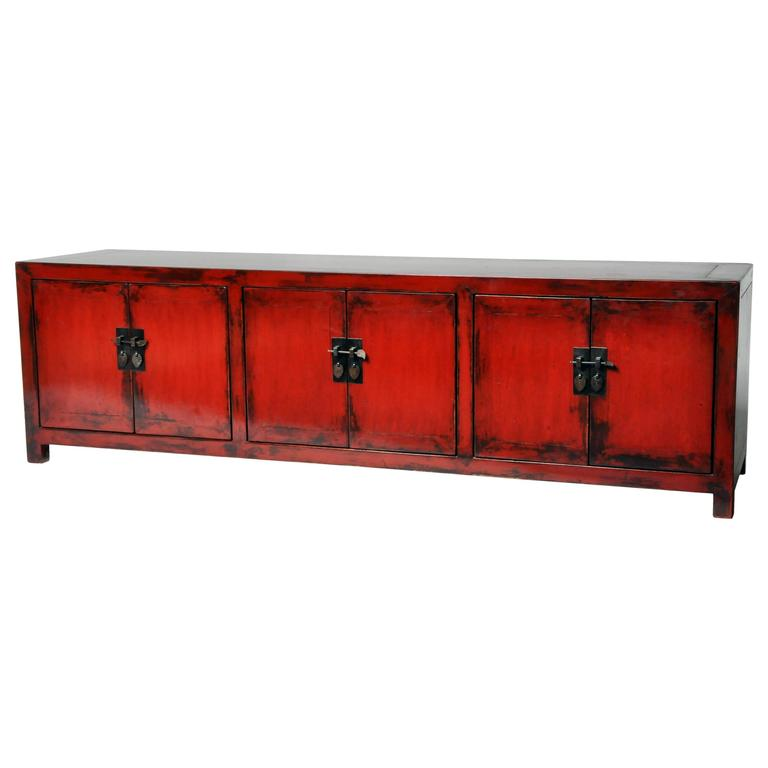 Damaged Kitchen Cabinets For Sale: Chinese Oxblood Lacquer Low Cabinet At 1stdibs