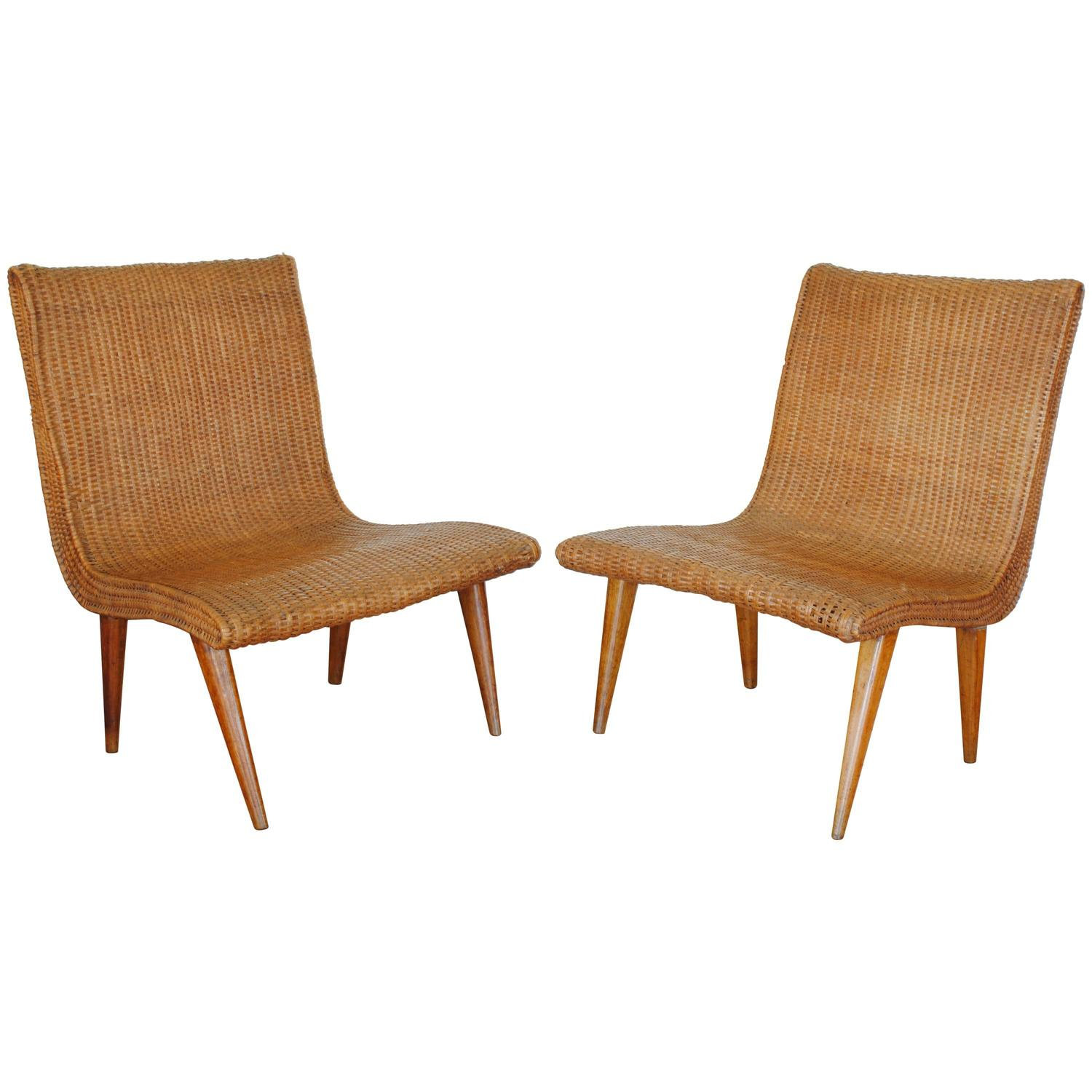 Pair Of French Wooden And Rattan Upholstered Chairs At 1stdibs. Full resolution‎  photograph, nominally Width 1500 Height 1500 pixels, photograph with #B15308.