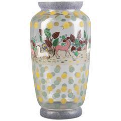Enameled Glass Vase, circa 1910
