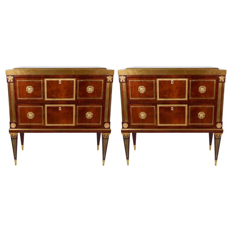 Pair of 19th Century Russian Empire Mahogany Ormolu-Mounted Commodes or Cabinets