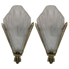 French Art Deco Wall Sconces Signed by Degue