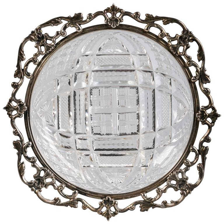 Sterling Silver and Brilliant Cut Crystal Dish, Gorham, circa 1910 For Sale