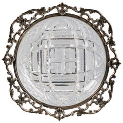 Sterling Silver and Brilliant Cut Crystal Dish, Gorham, circa 1910
