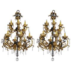 Pair of Baroque Style Hollywood Regency Chandeliers