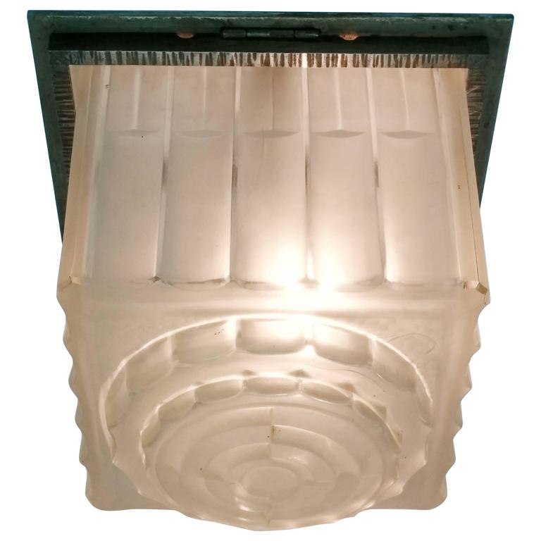 French Art Deco Flush Mount Signed by Sabino