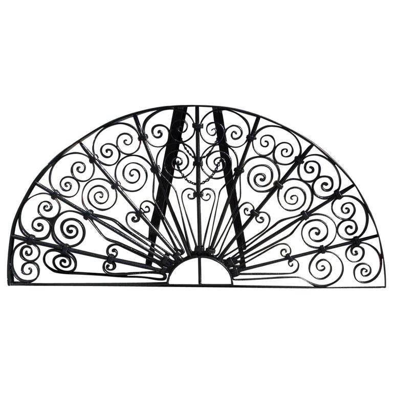 American Wrought Iron Decorative Window Transom or Gate, Circa 1820  For Sale