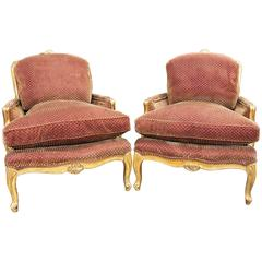 Pair of Gilded French, Louis XV Bergères in a Rich Sculpted Velvet