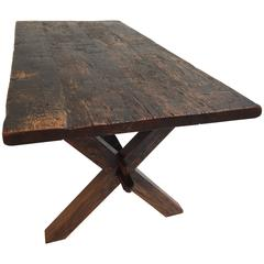 French Brutalist Rustic Stained Oak Dining Table in the Manner of Pierre Chapo