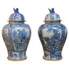 Pair of Monumental Blue and White Temple Jars by Maitland-Smith