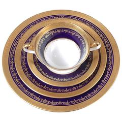 Ansley China, Georgian Cobalt Pattern with Encrusted Gold, Service for 16