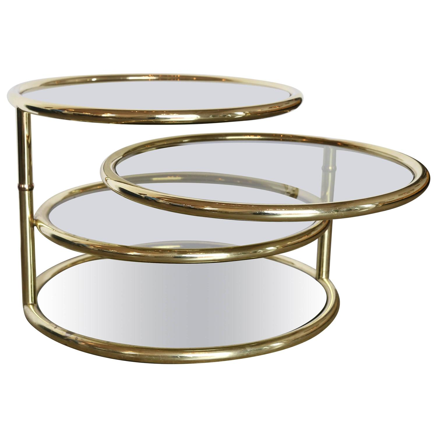 Milo Baughman Four Tier Smoke Glass And Brass Swivel Cocktail Or Side Table At 1stdibs