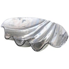 Large Smoked Glass Clam Shell Centerpiece