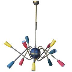 Unusual, French, 1950s Multi-Colored Brass Stem Chandelier