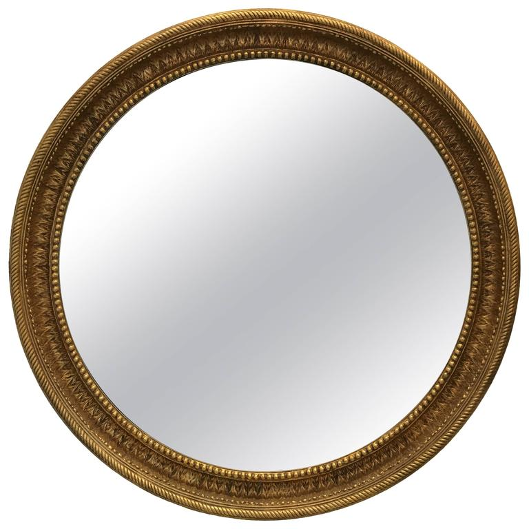 Monumental Regency Style Gilt Convex Mirror