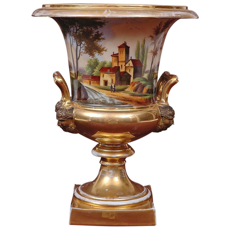 Large old paris porcelain urn with romantic landscape scenes at 1stdibs - Large decorative vases and urns ...