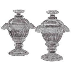 Pair of 19th Century Irish Cut-Crystal Sweetmeat Jars or Urns