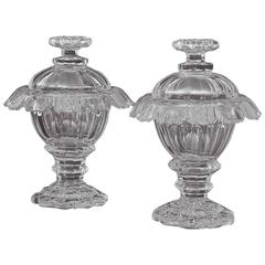 Pair of 19th Century Irish Cut-Crystal Sweetmeat Jars or Urns