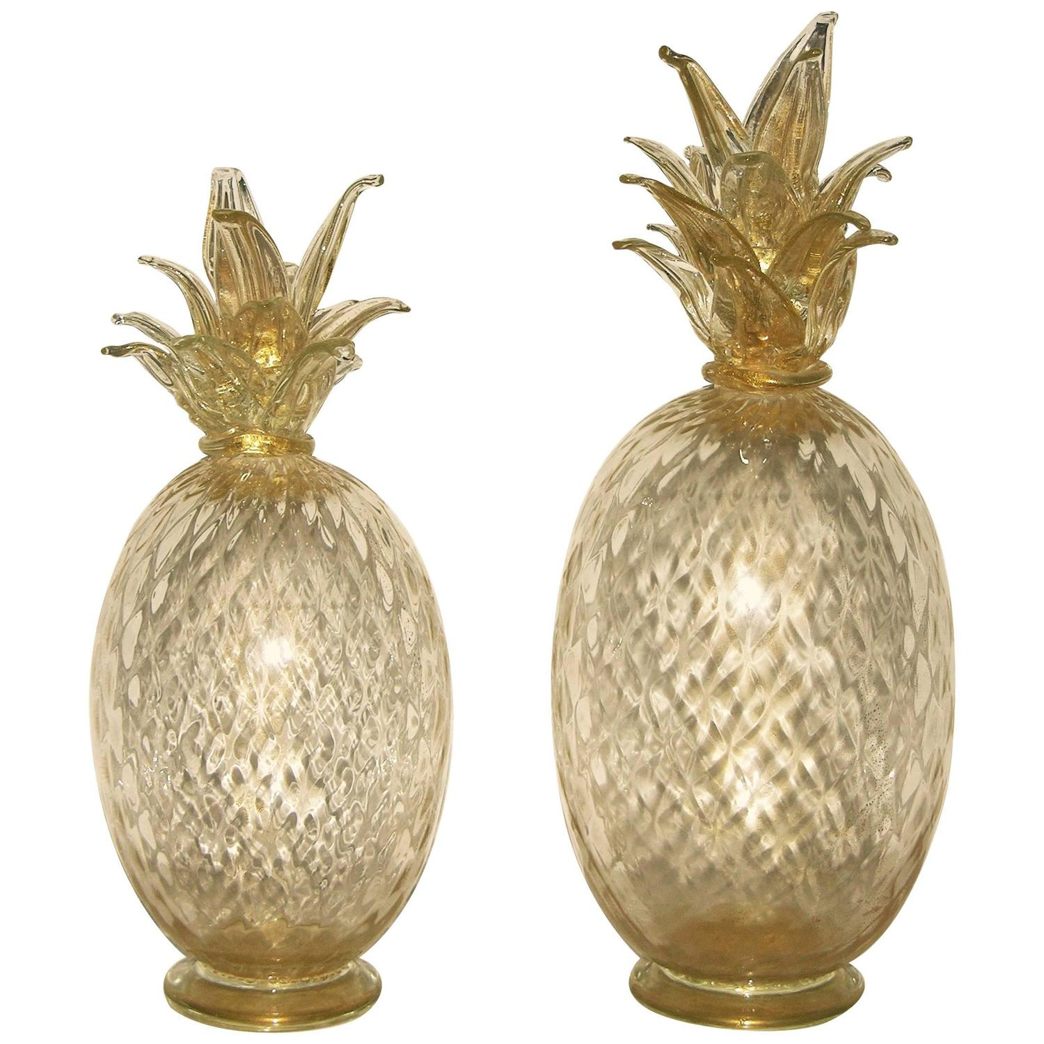 Seguso italian scaled set of two gold pineapples in blown