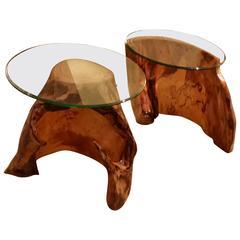Pair of Asymmetric Burl Wood Drift Wood Side Tables