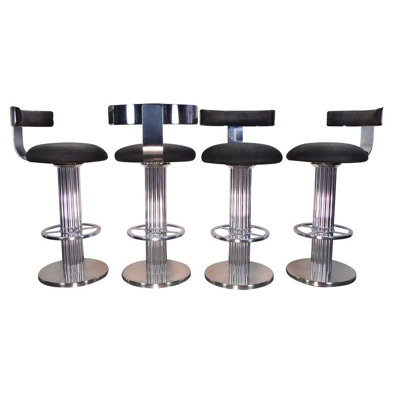 Set Of Four Swivel Barstools By Designs For Leisure Circa