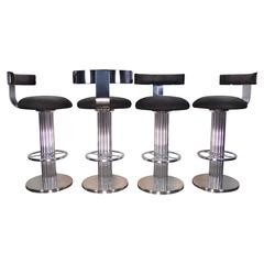 Set of Four Swivel Barstools by Designs for Leisure, circa 1980s