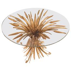 Gilded Metal Wheat Sheath Occasional Table in the Hollywood Regency Style