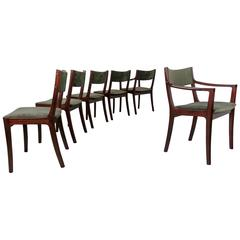 Handsome Set of Dark Teak Dining Chairs in the Manner of Ole Wanscher, Denmark