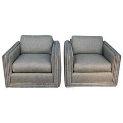 Chrome Faux Bamboo Newly Upholstered Tweed Club Chairs
