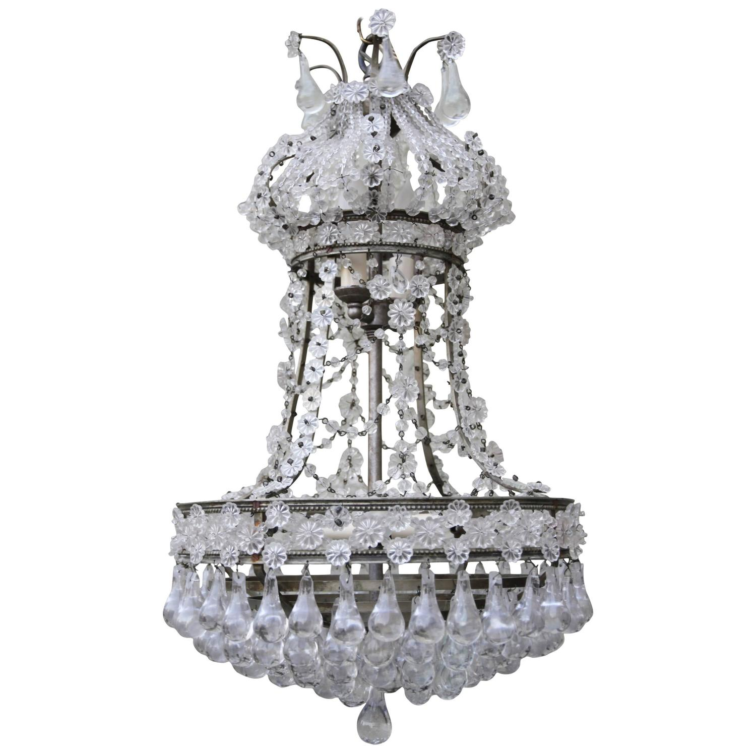 French crystal beaded chandelier at 1stdibs - Chandelier glass beads ...