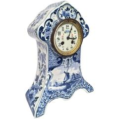 19th Century Dutch Hand-Painted Blue and White Faience Delft Mantel Clock