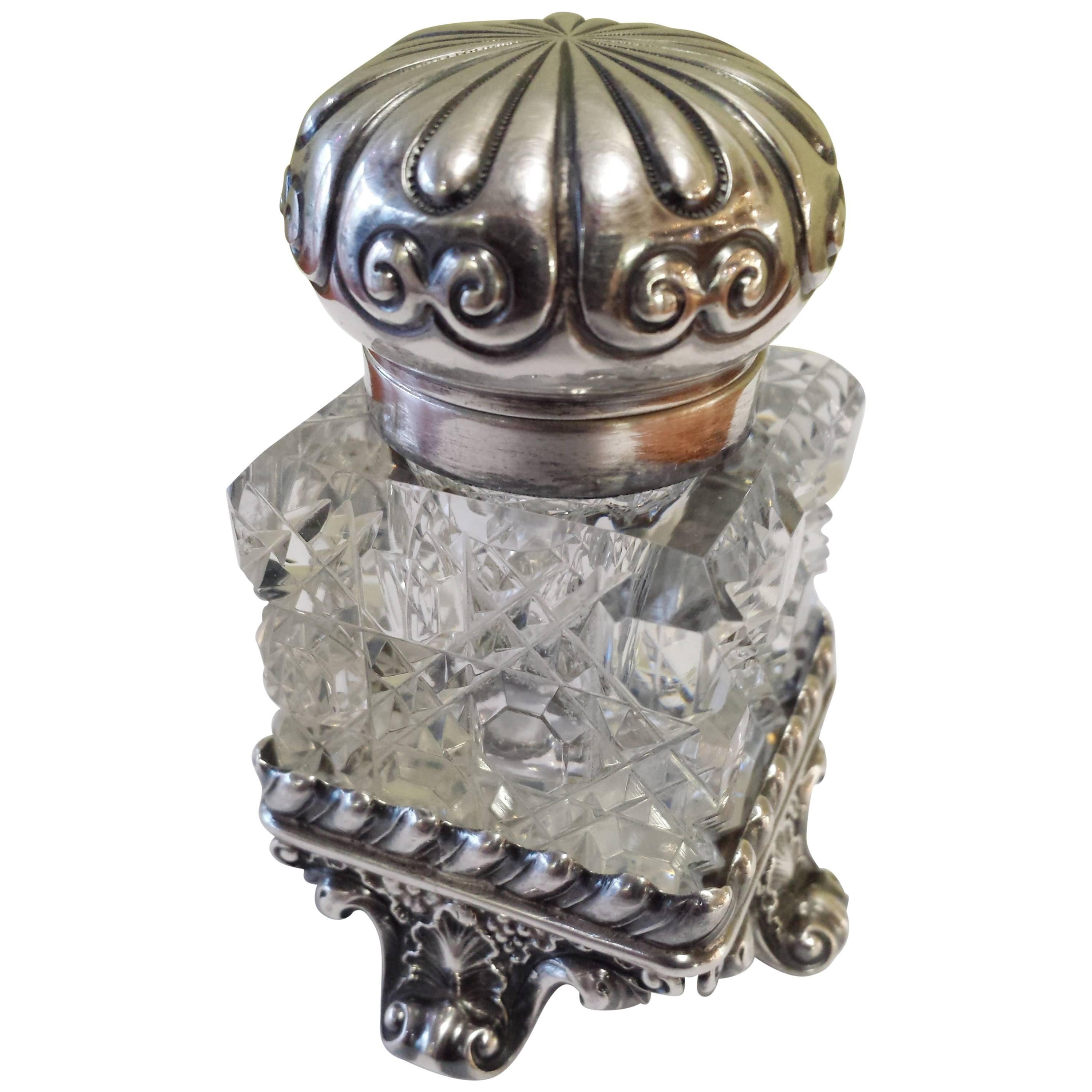 Sterling Silver & Cut Crystal Inkwell With A Seperate Sterling Base.