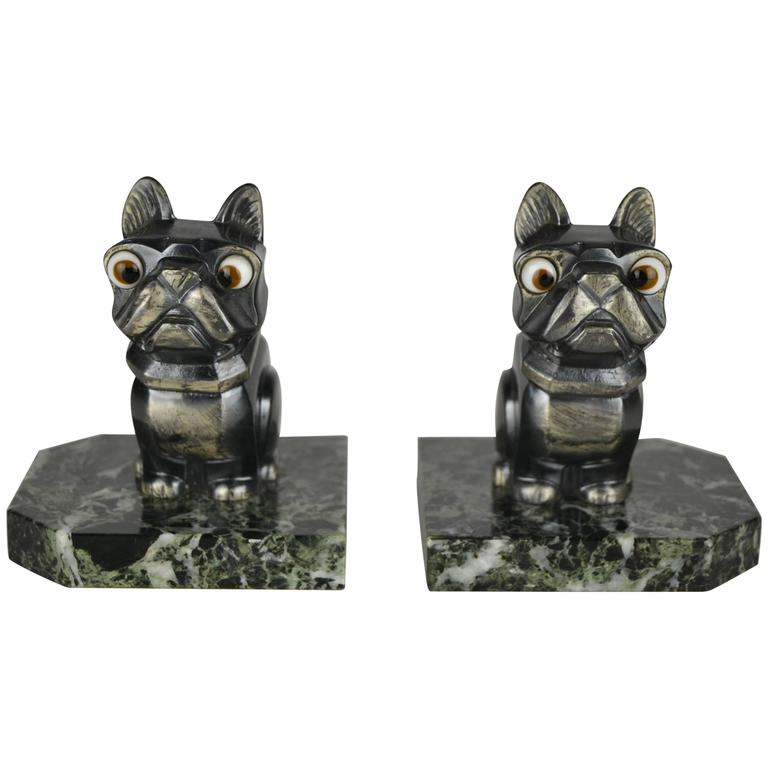 Vintage Pair of French Art Deco Bookends, Bulldogs, by H.Moreau